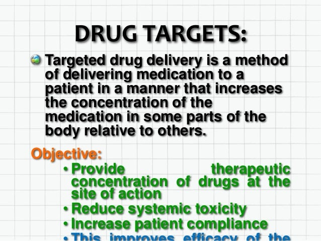 DRUG TARGETS: Targeted drug delivery is a method of delivering medication to a patient in a manner that increases the conc...