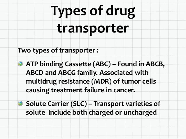 Comparison ATP Binding Cassette Solute Carrier Efflux transporter Influx / bidirectional transporter Utilize energy from A...