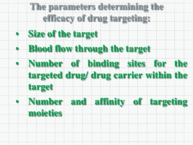 The parameters determining the efficacy of drug targeting: • Size of the target • Blood flow through the target • Number o...