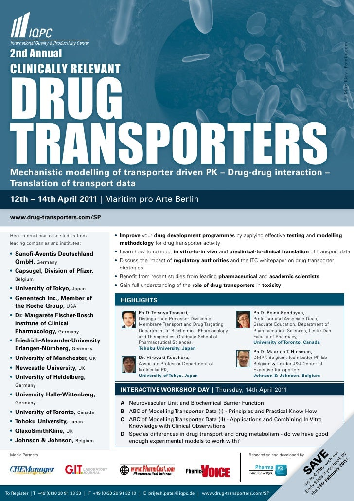© Mike Kiev - Fotolia.com  2nd annual  drug  CliniCally relevant  transporters  Mechanistic modelling of transporter drive...