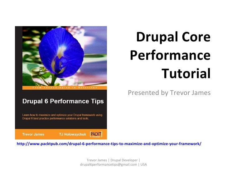 Drupal Core Performance Tutorial Presented by Trevor James Trevor James | Drupal Developer | drupal6performancetips@gmail....