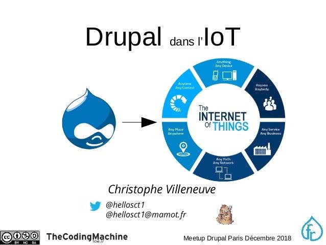 1 Meetup Drupal Paris Décembre 2018 Drupal dans l'IoT @hellosct1 @hellosct1@mamot.fr Christophe Villeneuve