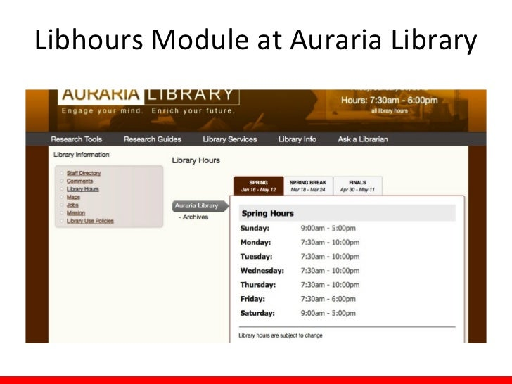 Libhours Module at Auraria Library