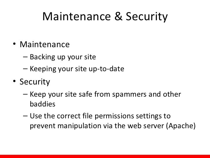 Maintenance: Concepts• Modules and themes need to be updated  – View available updates: Reports  Available    updates  – ...