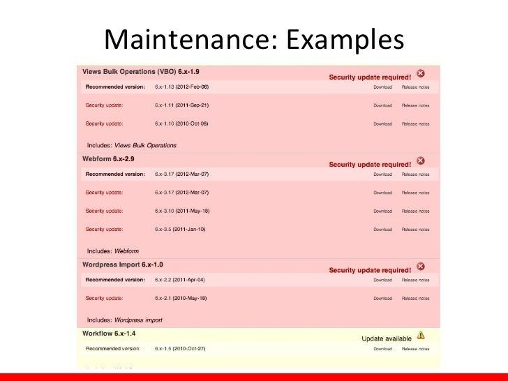 Maintenance: Examples THIS IS BETTER!