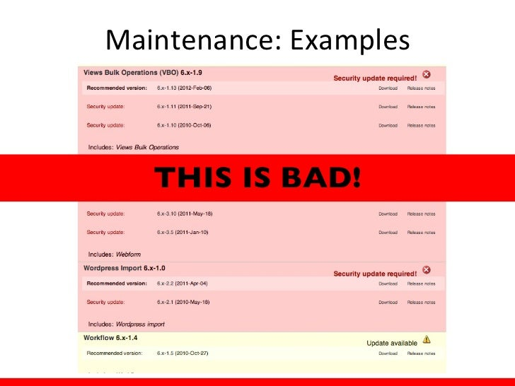 Maintenance: Tips• Updates to Drupal Core  require downtime• Clone your environment  and test before upgrading  to a live ...