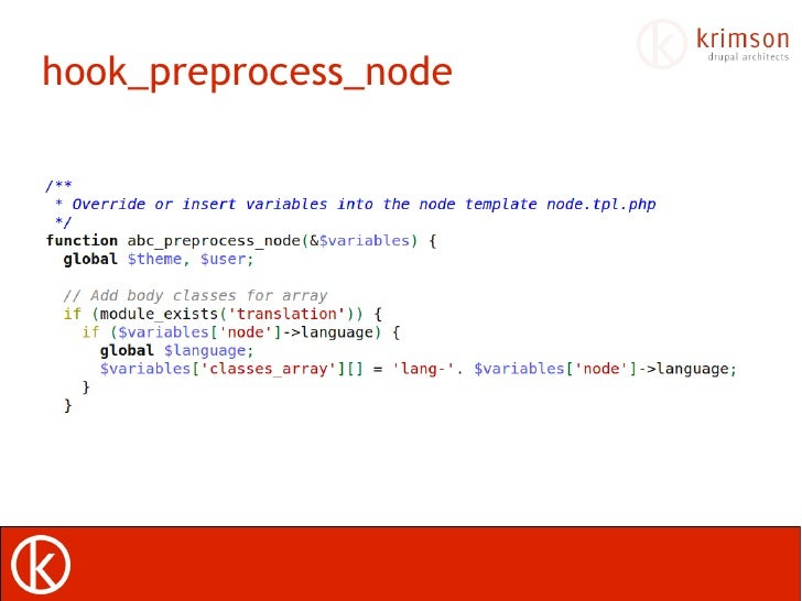 drupal 7 hook preprocess view Using drupal 7 hook_preprocess_html inside your themes templatephp file to add metadata to site pages.