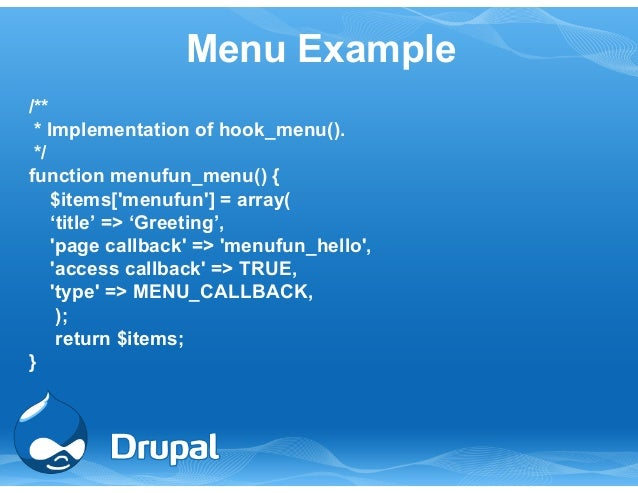drupal hook menu alter access callback It's possible to have custom access control on a hook_menu() items we can pass one or more arguments to the access callback function by using the.