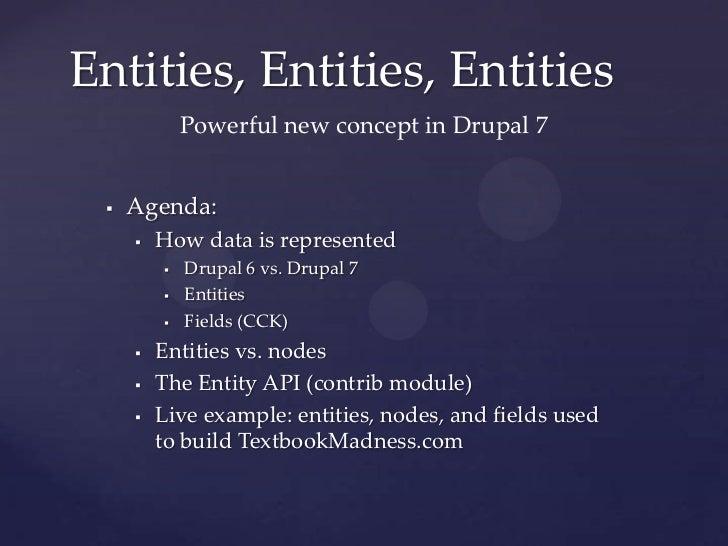 Drupal 7 entities & TextbookMadness.com Slide 2