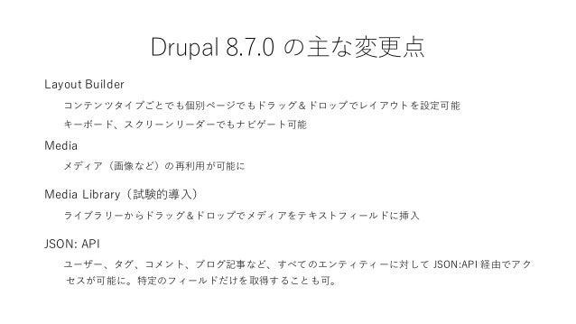 Drupal 8.7.0 の主な変更点 Layout Builder コンテンツタイプごとでも個別ページでもドラッグ&ドロップでレイアウトを設定可能 キーボード、スクリーンリーダーでもナビゲート可能 Media メディア(画像など)の再利用が可...