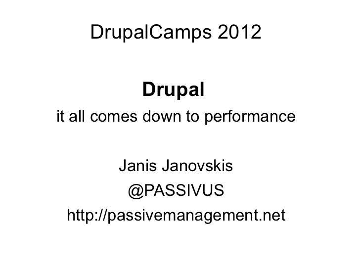 DrupalCamps 2012           Drupalit all comes down to performance        Janis Janovskis         @PASSIVUS http://passivem...