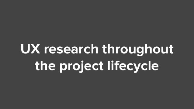 UX research throughout the project lifecycle