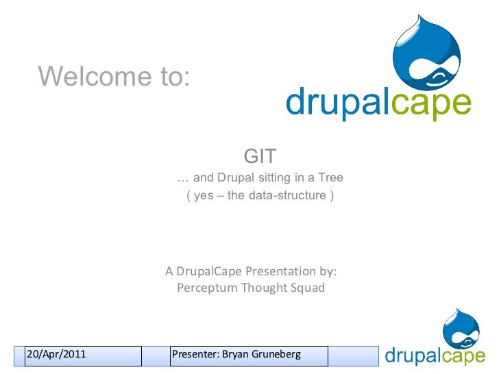 Welcome to: GIT …  and Drupal sitting in a Tree ( yes – the data-structure ) A DrupalCape Presentation by: Perceptum Thoug...