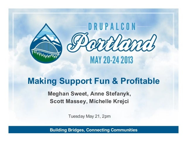 Making Support Fun & Profitable Meghan Sweet, Anne Stefanyk, Scott Massey, Michelle Krejci Tuesday May 21, 2pm Building Br...