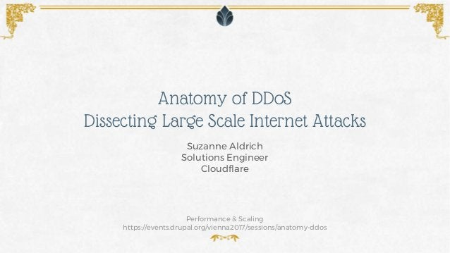 Anatomy of DDoS Dissecting Large Scale Internet Attacks Performance & Scaling https://events.drupal.org/vienna2017/session...