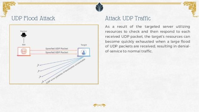 As a result of the targeted server utilizing resources to check and then respond to each received UDP packet, the target's...