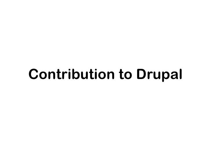 Contribution to Drupal