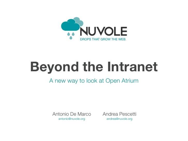 Beyond the Intranet  A new way to look at Open Atrium   Antonio De Marco       Andrea Pescetti     antonio@nuvole.org    a...
