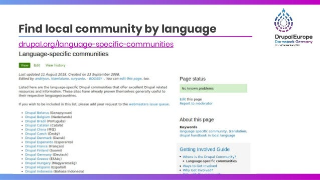 Find local community by language drupal.org/language-specific-communities