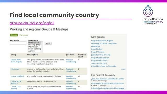 Find local community country groups.drupal.org/og/all