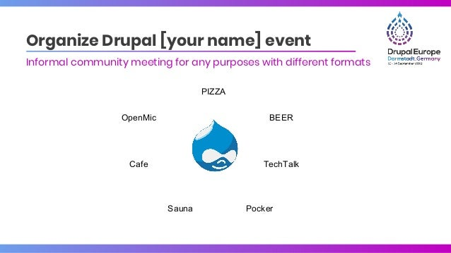 Organize Drupal [your name] event Informal community meeting for any purposes with different formats PIZZA BEER TechTalk P...