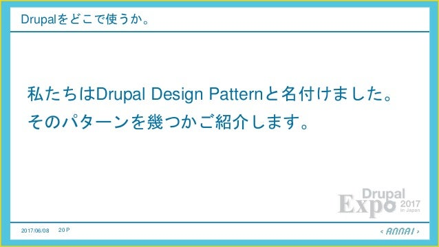 2017/06/08 20 P Drupalをどこで使うか。 私たちはDrupal Design Patternと名付けました。 そのパターンを幾つかご紹介します。