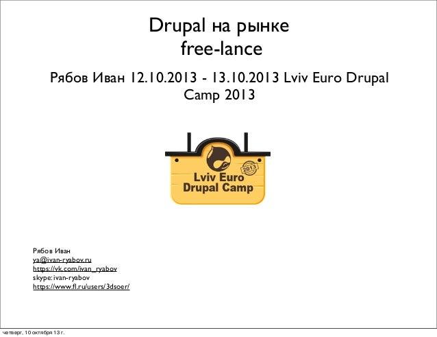 Drupal на рынке free-lance Рябов Иван 12.10.2013 - 13.10.2013 Lviv Euro Drupal Camp 2013  Рябов Иван ya@ivan-ryabov.ru htt...