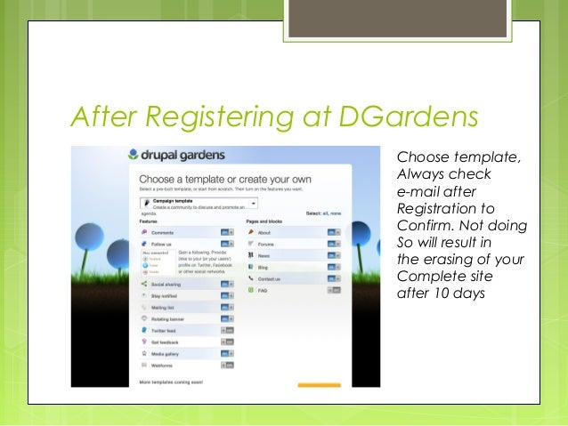 Drupal Gardens Tutorial 1 of 4