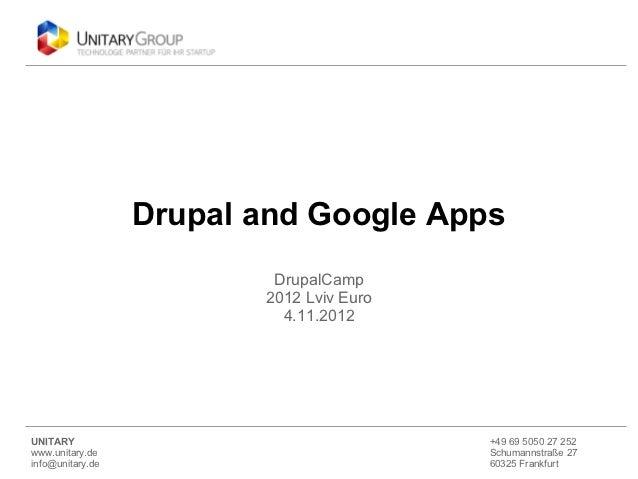Drupal and Google Apps                          DrupalCamp                         2012 Lviv Euro                         ...