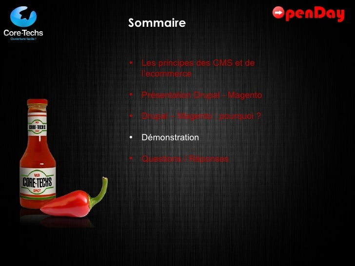 Sommaire <ul><li>Les principes des CMS et de l'ecommerce </li></ul><ul><li>Présentation Drupal - Magento </li></ul><ul><li...