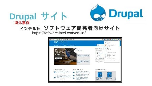 海外事例 インテル社 ソフトウェア開発者向けサイト     https://software.intel.com/en-us/ Drupal サイト