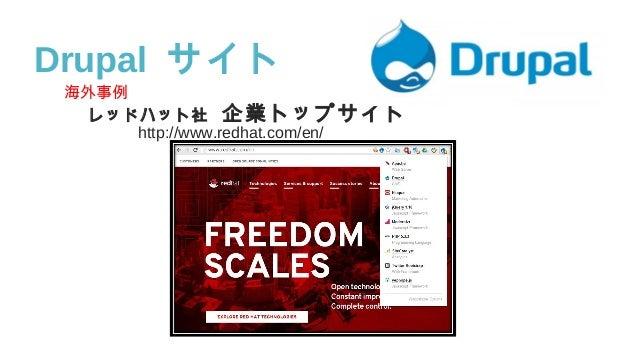 海外事例 レッドハット社 企業トップサイト     http://www.redhat.com/en/ Drupal サイト