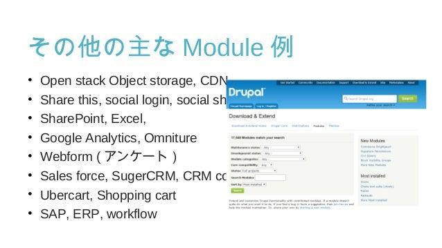 その他の主な Module 例 • Open stack Object storage, CDN • Share this, social login, social share • SharePoint, Excel, • Google An...