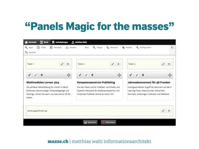 "mazze.ch | matthias walti informationsarchitekt ""Panels Magic for the masses"""
