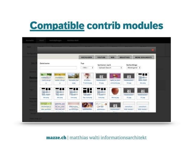 mazze.ch | matthias walti informationsarchitekt Compatible contrib modules