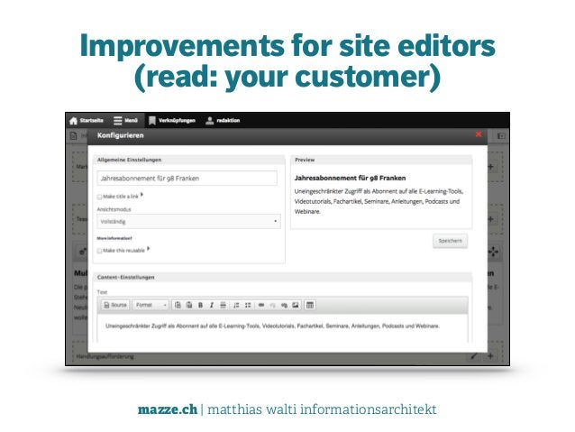 mazze.ch | matthias walti informationsarchitekt Improvements for site editors  (read: your customer)