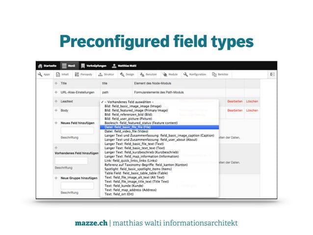 mazze.ch | matthias walti informationsarchitekt Preconfigured field types