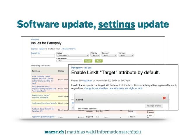 mazze.ch | matthias walti informationsarchitekt Software update, settings update