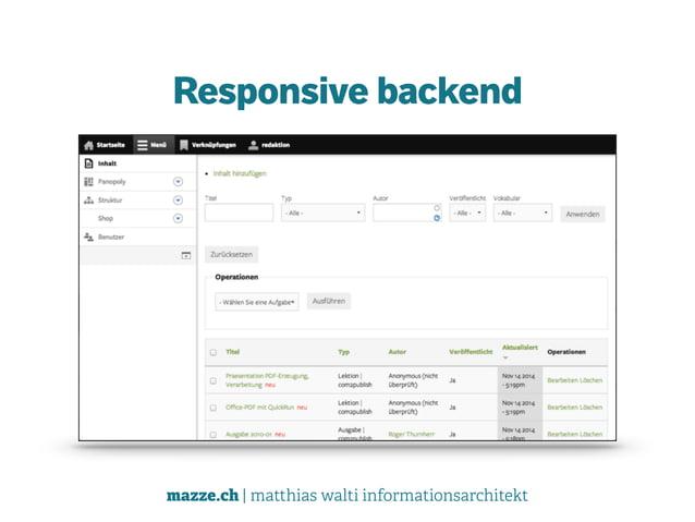 mazze.ch | matthias walti informationsarchitekt Responsive backend