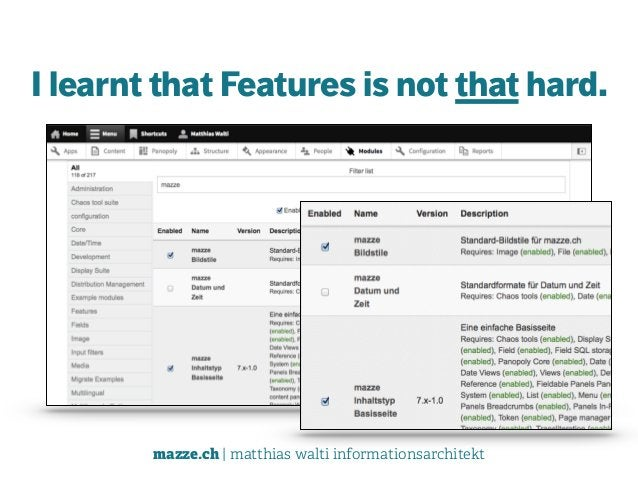 mazze.ch | matthias walti informationsarchitekt I learnt that Features is not that hard.
