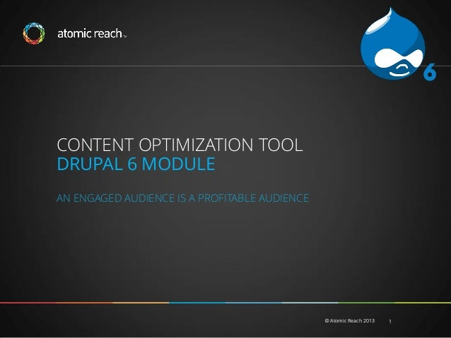 6 CONTENT OPTIMIZATION TOOL DRUPAL 6 MODULE AN ENGAGED AUDIENCE IS A PROFITABLE AUDIENCE  © Atomic Reach 2013  1