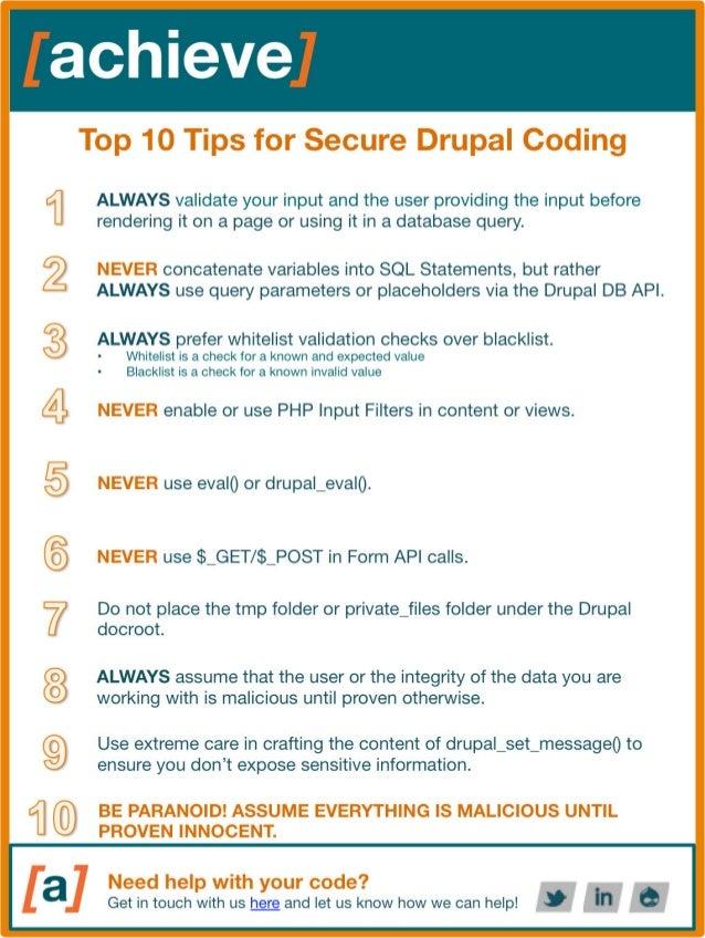 Drupal secure code checklist