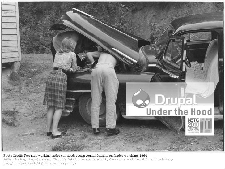 Photo Credit: Two men working under car hood; young woman leaning on fender watching, 1964 William Gedney Photographs and ...