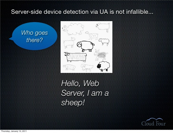 Server-side device detection via UA is not infallible...                       Who goes                      there?       ...