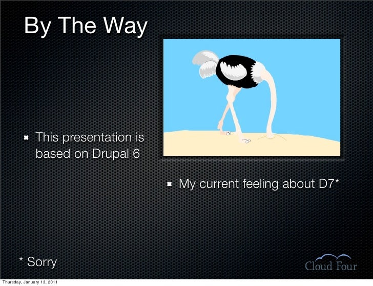 By The Way                   This presentation is                based on Drupal 6                                        ...