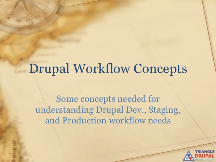 Drupal Workflow Concepts Some concepts needed for understanding Drupal Dev., Staging, and Production workflow needs
