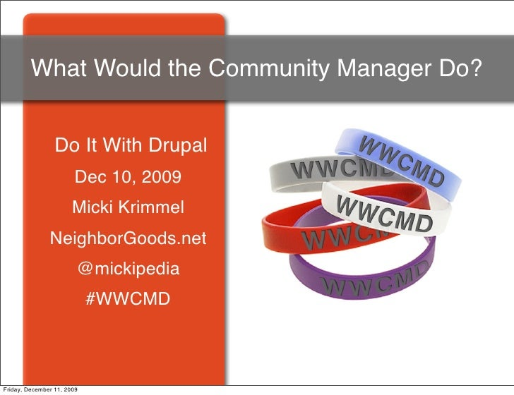 What Would the Community Manager Do?                    Do It With Drupal                        Dec 10, 2009             ...