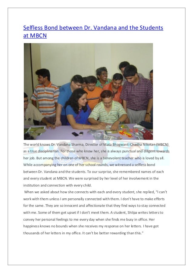 Selfless Bond between Dr. Vandana and the Students at MBCN The world knows Dr. Vandana Sharma, Director of Mata Bhagwanti ...