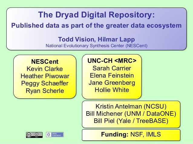 The Dryad Digital Repository: Published data as part of the greater data ecosystem Todd Vision, Hilmar Lapp National Evolu...