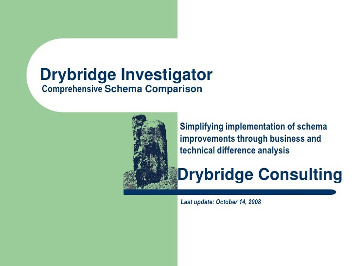 Drybridge Investigator Comprehensive Schema Comparison                             Simplifying implementation of schema   ...